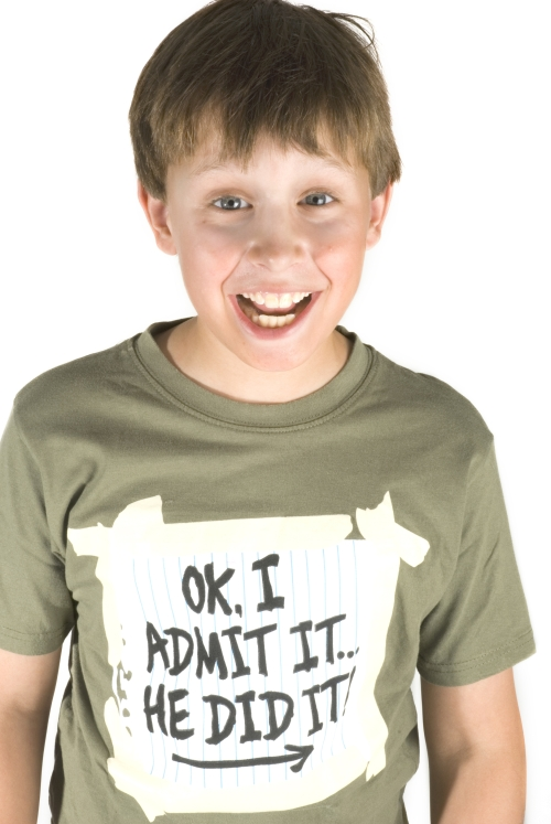 naughty boy makes a confession with his t-shirt